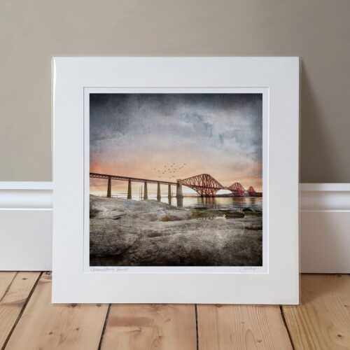 Queensferry Sunset mounted print